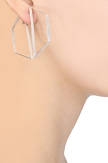 Silver Plated Hexagon Bee Earrings by Varnika Arora