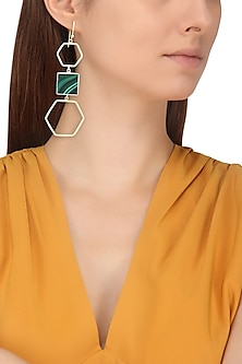 Gold and Silver Finish Malachite Stone Hexagon Earrings by Varnika Arora