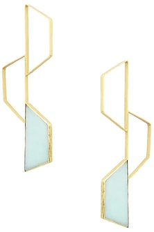 Gold Finish Amazonite Trapezium Bee Earrings by Varnika Arora