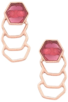 Gold Finish Rose Quartz Studs by Varnika Arora
