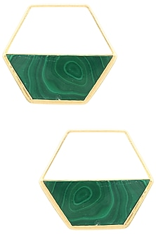 Gold Finish Malachite Encrusted Hexagon Earrings by Varnika Arora
