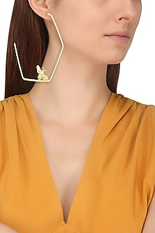 Gold Finish Killer Bee Hoops Earrings