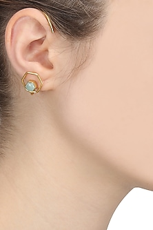 Gold Finish Amazonite Studded Ear Cuffs