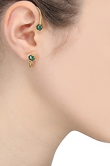 Gold Finish Green Onyx Ear Cuffs