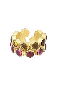 Gold Finish Bear and Pink Quartz Beehive Ring by Varnika Arora