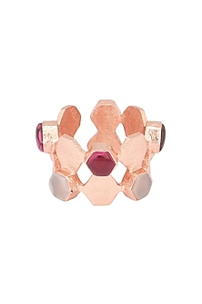Rose Gold Plated Hydro Pink Quartz and Moonstone Ring by Varnika Arora