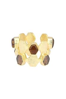 Gold Finish Hydro Bear and Smokey Quartz Ring by Varnika Arora