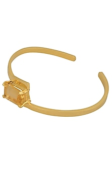 Gold Plated Emerald Cut Yellow Citrine Stone Hand Cuff by Varnika Arora