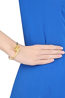 Gold Plated Emerald Cut Yellow Citrine Stone Hand Cuff by Varnika Arora