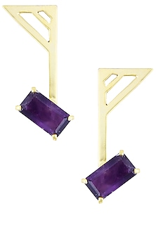 Gold Plated Emerald Cut Purple Amethyst Stone Statement Earrings by Varnika Arora