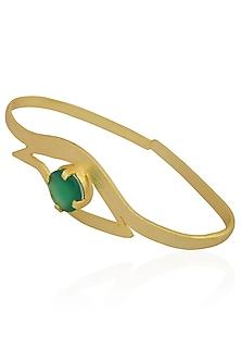 Gold Plated Green Onyx Stone Eye Shaped Palm Cuff by Varnika Arora