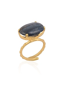 Gold Plated Kyanite Stone Statement Tilted Ring by Varnika Arora