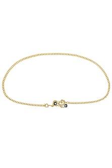 Gold Plated Cut Labrodarite Stone Statement Chain Belt/ Kamarbandh by Varnika Arora