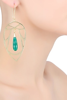 Gold Plated Green Onyx Semi Precious Stone Statement Earrings by Varnika Arora