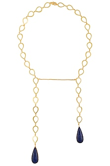 Gold Plated Blue Lapis Lazuli Stone Open Necklace by Varnika Arora