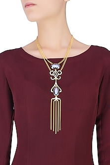 Gold Plated Tassel Drop Silicone Stone Necklace by Varnika Arora