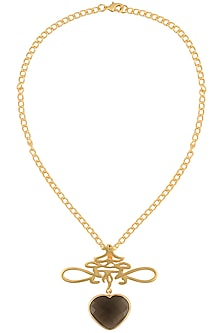 Gold Plated Smokey Quartz Stone Heart Shaped Necklace by Varnika Arora