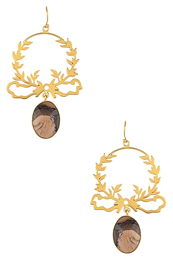 Gold Plated Jasper Stone Drop Earrings by Varnika Arora