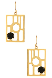Gold Plated Black Onyx Stone Geometric Earrings by Varnika Arora