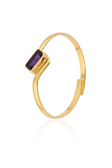 Gold Plated Purple Amethyst Stone Cuff Bracelet by Varnika Arora
