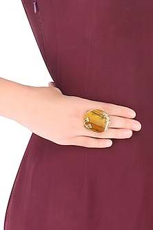 Gold Plated Tiger'S Eye Adjustable Ring