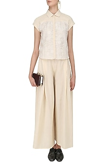 Beige Pleated Crop Shirt and Palazzo Pants Set by Vasavi Shah