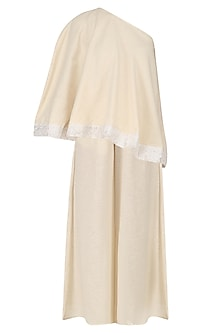 Beige One Shoulder Cape Top and Culottes Set by Vasavi Shah