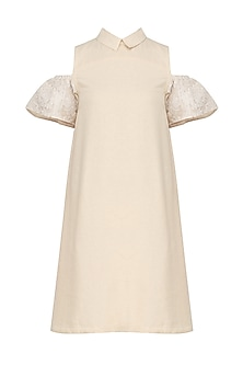 Beige Chikankari Sleeves Cold Shoulder Dress