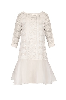 White Chikankari Short Dress by Vasavi Shah