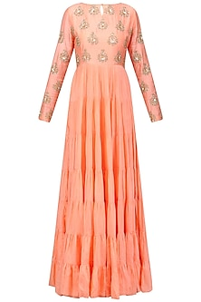 Peach Embroidered Tier Kurta