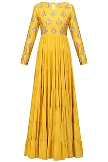 Mustard Yellow Embroidered Tier Kurta