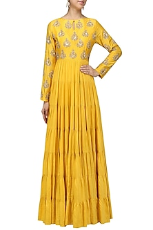 Mustard Yellow Embroidered Tier Kurta by Vasavi Shah