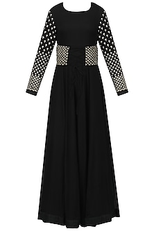 Black Embroidered Anarkali with Corset Belt
