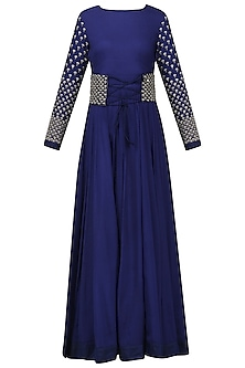 Navy Blue Embroidered Anarkali with Corset Belt