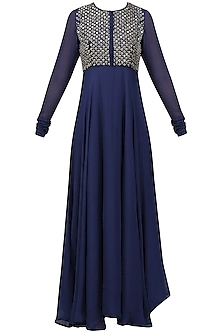 Navy Blue Embroidered Flared Kurta with Dupatta Set