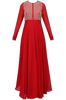 Red Embroidered Flared Kurta with Dupatta Set