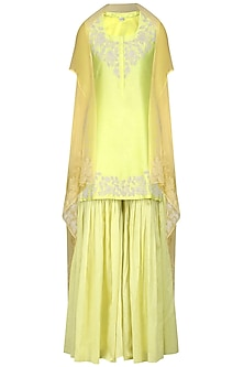 Lime Green Embroidered Kurta with Gharara and Dupatta