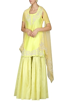 Lime Green Embroidered Kurta with Gharara and Dupatta by Vasavi Shah