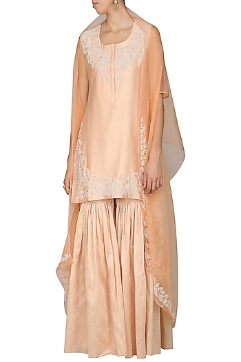 Rose Pink Embroidered Kurta with Gharara Pants and Dupatta by Vasavi Shah