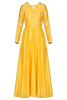 Yellow Embroidered Anarkali with Dupatta by Vasavi Shah