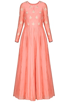 Pink Embroidered Anarkali with Dupatta by Vasavi Shah
