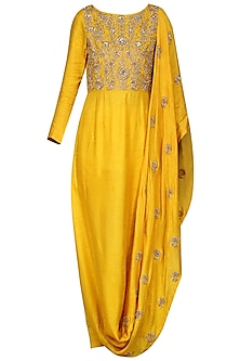 Mustard Draped Kurta with Leggings