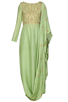 Sea Green Draped Kurta with Leggings