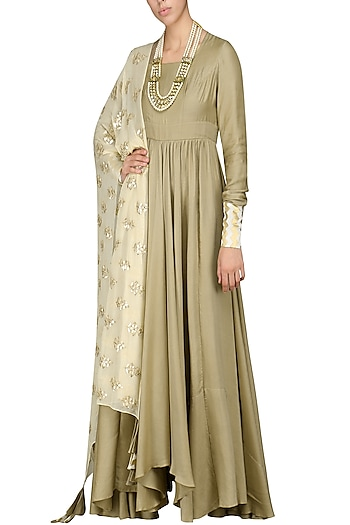 Beige Asymmetrical Kurta with Dupatta by Vasavi Shah
