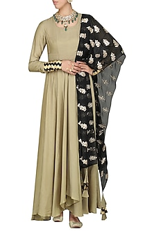 Beige Asymmetrical Kurta with Black Dupatta by Vasavi Shah