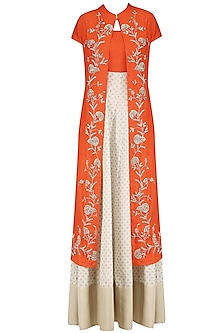 Off White and Orange Printed Kurta Set with Embroidered Jacket