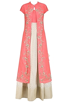 Off White and Peach Printed Kurta Set with Embroidered Jacket