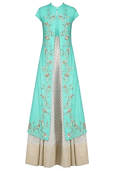 Off White and Turquoise Printed Kurta Set with Embroidered Jacket