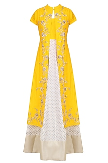 Off White and Yellow Printed Kurta Set with Embroidered Jacket