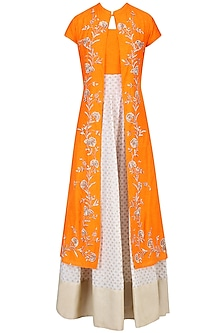 Off White and Light Orange Printed Kurta Set with Embroidered Jacket
